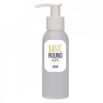 100 ml Flasche Basic Round HDPE Natur + Dispenserpump PP weiß