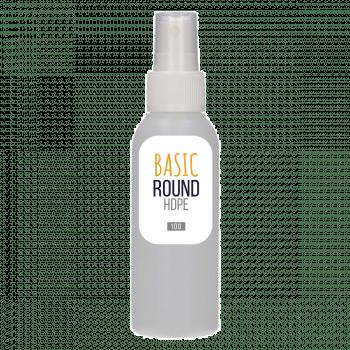 100 ml Flasche Basic Round HDPE Natur + Sprühpump PP weiß