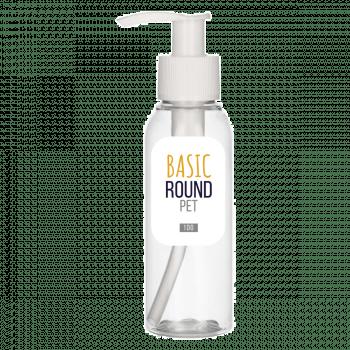 100 ml Flasche Basic Round PET transparent 24.410 + Dispenserpump PP
