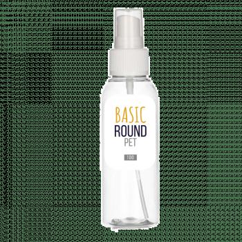 100 ml Flasche Basic Round PET transparent 24.410 + Sprühpump PP weiß