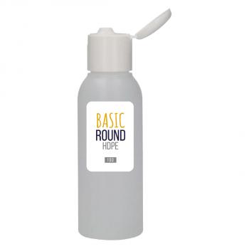 100 ml flasche Basic Round HDPE natur 24.410 + Klappdeckelverschluss PP weiẞ