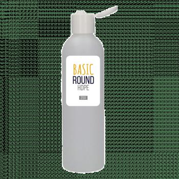 250 ml Flasche Basic Round HDPE natur 24.410 + Klappdeckelverschluss PP weiẞ
