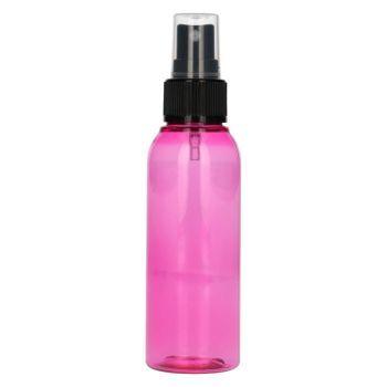 100 ml Basic Round PET rosa + Sprühpump schwarz