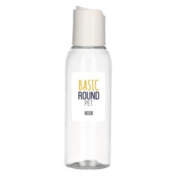 100 ml Flasche Basic Round PET transparent 24.410 + Disc-top PP weiẞ