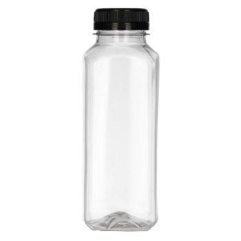 330 ml Juice Square PET transparent + Garantieverschluss schwarz