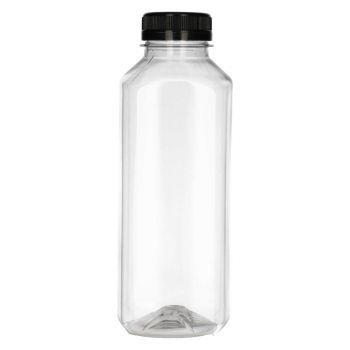 500 ml Juice Square PET transparent + Garantieverschluss schwarz
