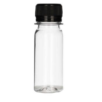 50 ml Juice mini shot PET transparent + Schraubverschluss schwarz